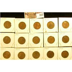 1935P, D, S, 36P, D, S, 37P, D, S, 38P, D, 39D, S, 40D, & S Lincoln Cents.