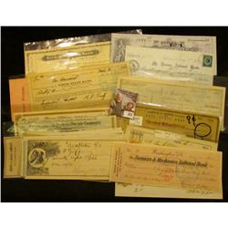 "(20) Different Old Checks dating back to 1870. Includes some rarities such as ""Kalona Savings Bank"";"