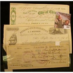 "1874 ""Treasurer of the City of Chicago"" Check signed by the Mayor of Chicago; 1857 Check ""Banking an"