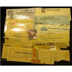 1885 Market Hall, England Check; 1868 Washington, Iowa Check with Revenue Stamps; 1899  Farmers & Me