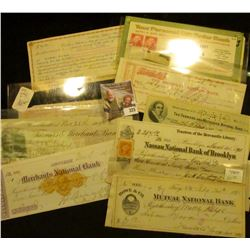 "Postal History & Old Check lot dating back to 1873. Includes 1904 Woodland, Cal. ""Farmer & Merchants"