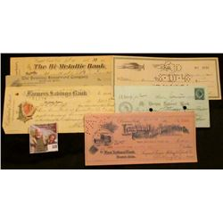 "Old Check lot dating back to 1878. Includes 1878 ""Mt. Vernon National Bank, Boston, Mass."" with blue"