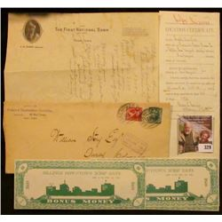 "Group of Banking, Postal, and Land History Memorabilia. Includes a letter on letter head from ""The F"