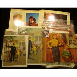 Large group of Calendar Art Work. Which 'Doc' has priced at $5-$6 per piece.