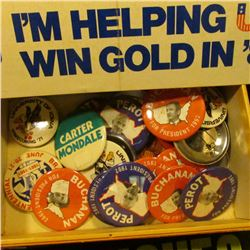 "Group of Political Bumper Stickers; ""Van Dyck"" Cigar Box; & a large group of Pin-backs, most of whic"