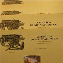 "(9) pieces of Stationery ""America Dump Wagon Co…Cedar Rapids, Iowa"" depicting a Dump Wagon. 'Doc' so"
