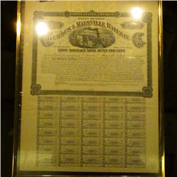 1877 matted and framed  United States of America State of Ohio Columbus & Maysville Railway Southern