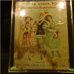 "Framed and matted Advertising poster ""Eureka Stock Food The Great Flesh Producer Manufactured by Shr"