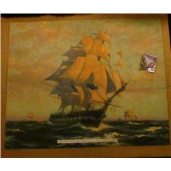 "15 3/4"" x 19 5/8"" Print ""1797 Old Ironsides U.S. Frigate Constitution 1927"" attached to cardboard ba"