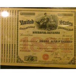 "1880 era United States Stamp for Special Tax Internal Revenue…Dealer in Leaf Tobacco"", has coupons a"