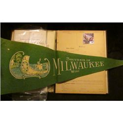 "Felt Banner ""Souvenir of Milwaukee Wisc.""; early 1900 era ""Protest State of Iowa"" Book with sheets w"