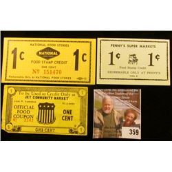 "Three-different One Cent Scrip Official Food Coupon.""Jet Community Market"", ""Penny's Super Markets"","