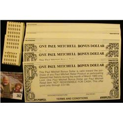 "Original Bundle of ""Paul Mitchell Bonus Dollar(s)"". 3/31/89."