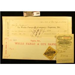 Four pieces of late 1800 early 1900 Wells fargo & Co. Bank checks and miscellaneous memorabilia.