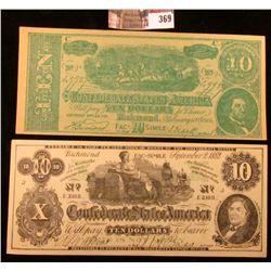 "Pair of Old Confederate States of America advertising notes, ""Swanson's…Galesburg, Ill."" & ""Economy"