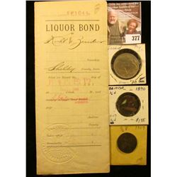 1900 Earling, Iowa Liquor Bond with four Documentary Stamps, notarized; 1890 & 1907 Great Britain Ha