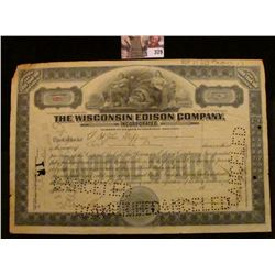 "1923 Two Shares of ""The Wisconsin Edison Company"" Stock Certificate, hole cancelled."