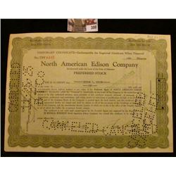 "1923 Ten Shares of ""North American Edison Company"" Preferred Stock Certificate, hole cancelled."