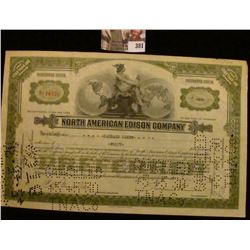 "1928 Forty Shares of ""North American Edison Company"" Preferred Stock Certificate, hole cancelled. A"