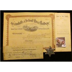 """Lee Riders Deputy Sheriff"" Badge; 1897 ""Lease For Farm Property"" Linn County, Iowa; 1925 check ""The"