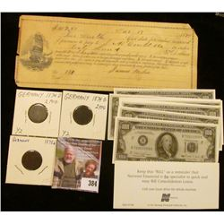 March 13th, 1894 Mechanicsville, Iowa Promissory Note; (12) $100 miniature $100 Federal Reserve Note