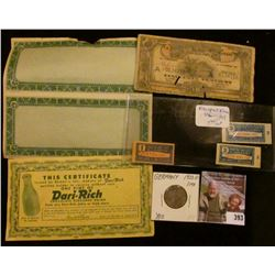 1950G Germany One Mark, BU; Attached pair of Blank Notes with outer edge webbing, edge tears; 1919 N