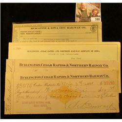 """Request for Pay Check…Muscatine & Iowa City Railway Co…."" unissued; unissued receipt No. 248 ""Burli"