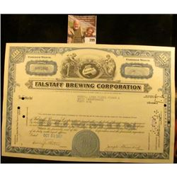 "49 Shares Common Stock Certificate ""Falstaff Brewing Corporation"", Oct. 23 1967."