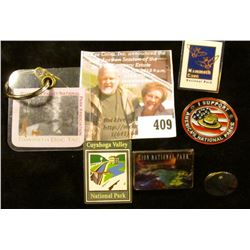 (6) National Park related pins and keychains (Cuyahoga Valley National Park, Zion National Park, Mam