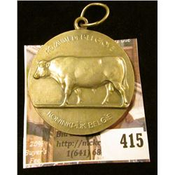 Belgium Minister of Agriculture 1959 medal, silver, has a cow pictured on the front, 46 mm, 38.2 g /