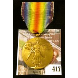 "WWI era Victory Medal with ribbon – ""The Great War for Civilization"""