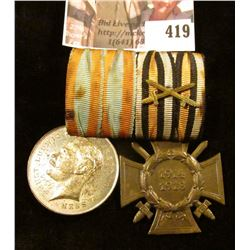German War Medals – 1914-1918 German Army Hindenberg Medal for Bravery with a Hesse Bravery Medal, b