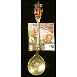 Haakon VII King of Norway 1906 Coronation commemorative spoon, marked 925S M. HAMMER, Ornate enamele