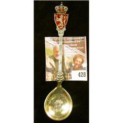 Haakon VII King of Norway 1906 Coronation commemorative spoon, marked 925S M. HAMMER, Ornate enamele