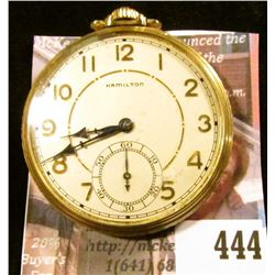 Hamilton 917 17 jewels pocket watch, estimated production date 1936. Starts but will not run, needs