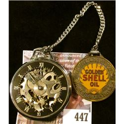 Vintage Girard-Perregaux & Co. Shell model skeleton pocket watch with the correct Shell watch fob ch