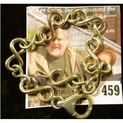 "8"" Silver bracelet, Odd figure-8 style links with a LARGE, well-made lobster clasp. Marked 925 ITALY"