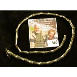 "18"" silver Bamboo link (seriously, the links look like pieces of bamboo sections) necklace, marked 9"