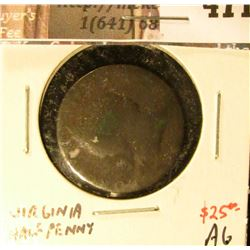1773 US Colonial Virginia Halfpenny, AG, value $25+