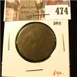 1802 Large Cent, AG, legible date, value $40
