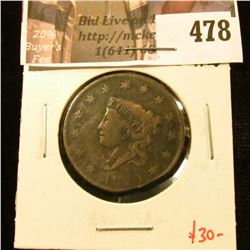 1820 Large Cent, F, clipped, value $30