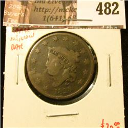 1828 Large Cent, large narrow date, G, value $20