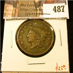 1837 Large Cent, VG, value $25