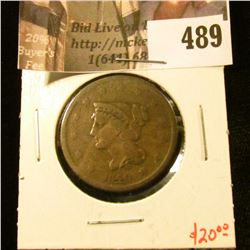 1840 Large Cent, G+, value $20