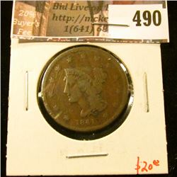 1841 Large Cent, G+, value $20