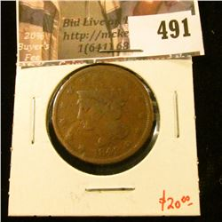 1842 Large Cent, G, value $20
