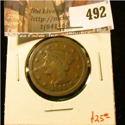 1843 Large Cent, VG, value $25