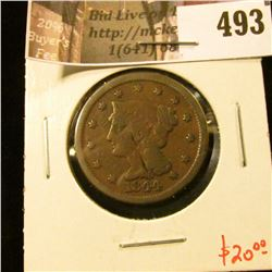 1844 Large Cent, G, value $20