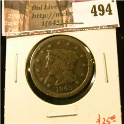 1845 Large Cent, VG, value $25