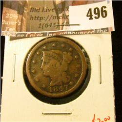 1847 Large Cent, G, value $20
